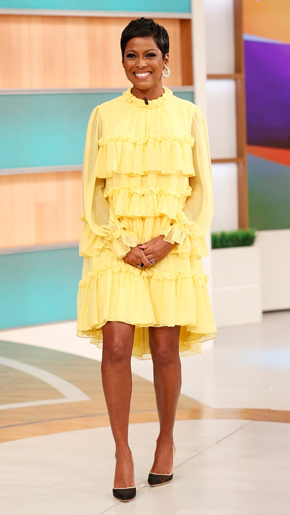 Yellow Dress by Adam Lippes // Shoes by Gianvito Rossi // Jewelry by Jennifer Miller